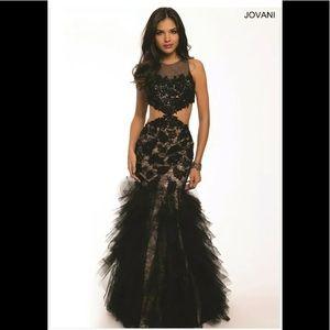 Jovani Prom Formal Black Lace Dress Mermaid  SZ8
